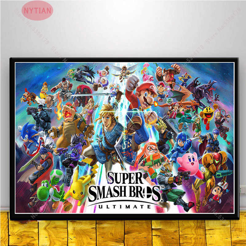 nt773 gift super mario super smash bros ultimate character poster print painting wall art canvas picture living home room decor