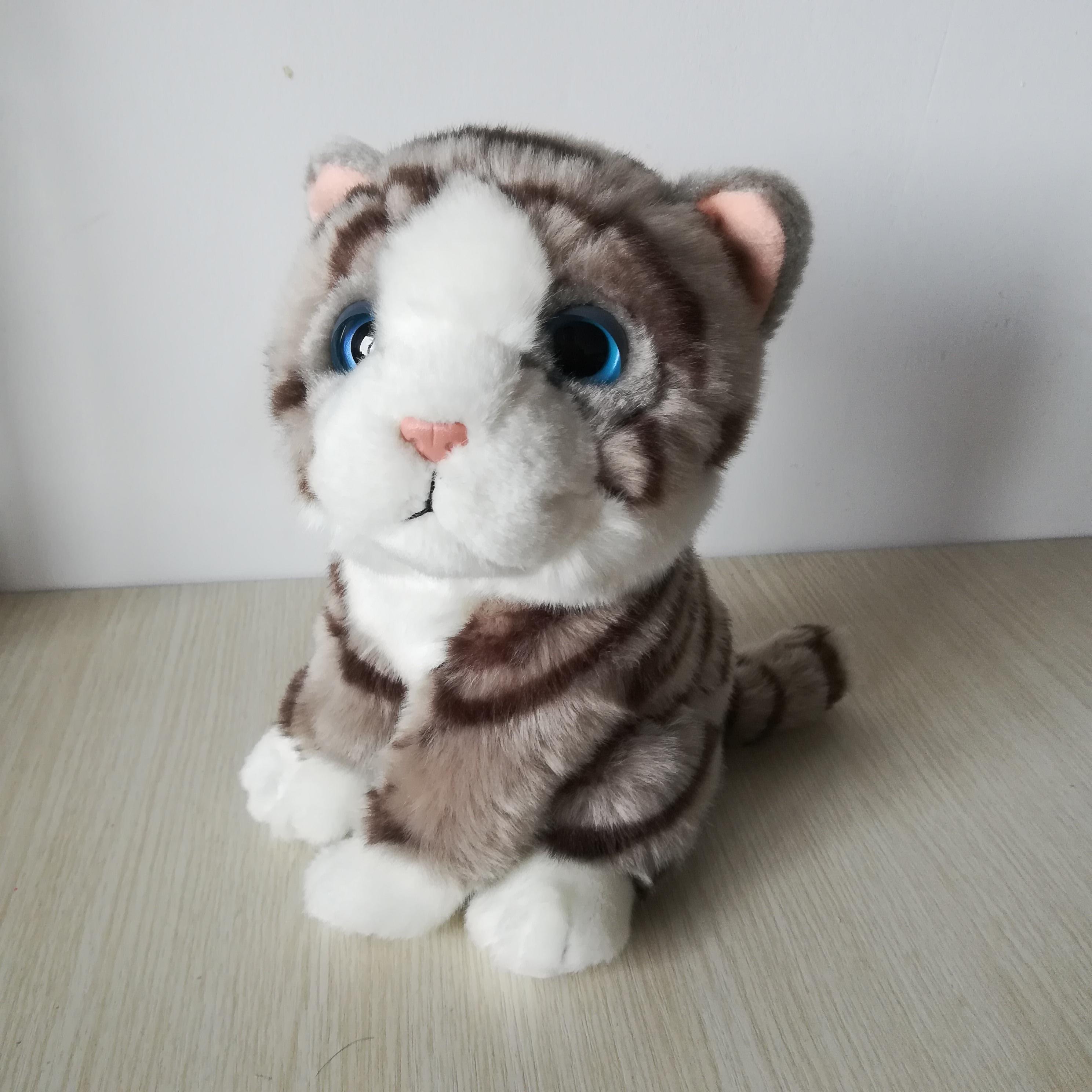 Environ 21cm chat squattant belle gris kitty doux poupée bébé jouet cadeau d'anniversaire s0165