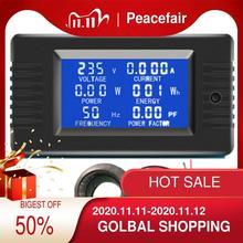 Peacefair 6 в 1 220 В а переменного тока однофазный цифровой панельный измеритель напряжения тока ватт кВтч коэффициент мощности измеритель энергии с катушкой CT