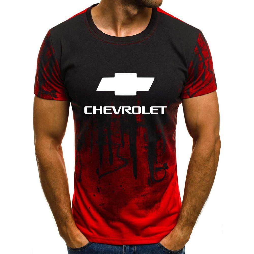 Mens Short Sleeve Chevrolet Car Logo Mens T-shirt Summer Casual Cotton Gradient T Shirts Fashion Hip Hop Harajuku Male Brand Tee
