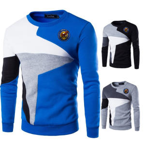Men Clothing Pullover Slim-Fit Apollo O-Neck Patchwork Knittwear Male Casual 50-Print