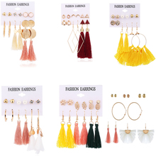 Bohopan Bohemian Long Tassel Drop Earrings For Women Geometric Pearl Dangle Earring Fashion 6 Pair/Set Brincos Female Jewelry цена