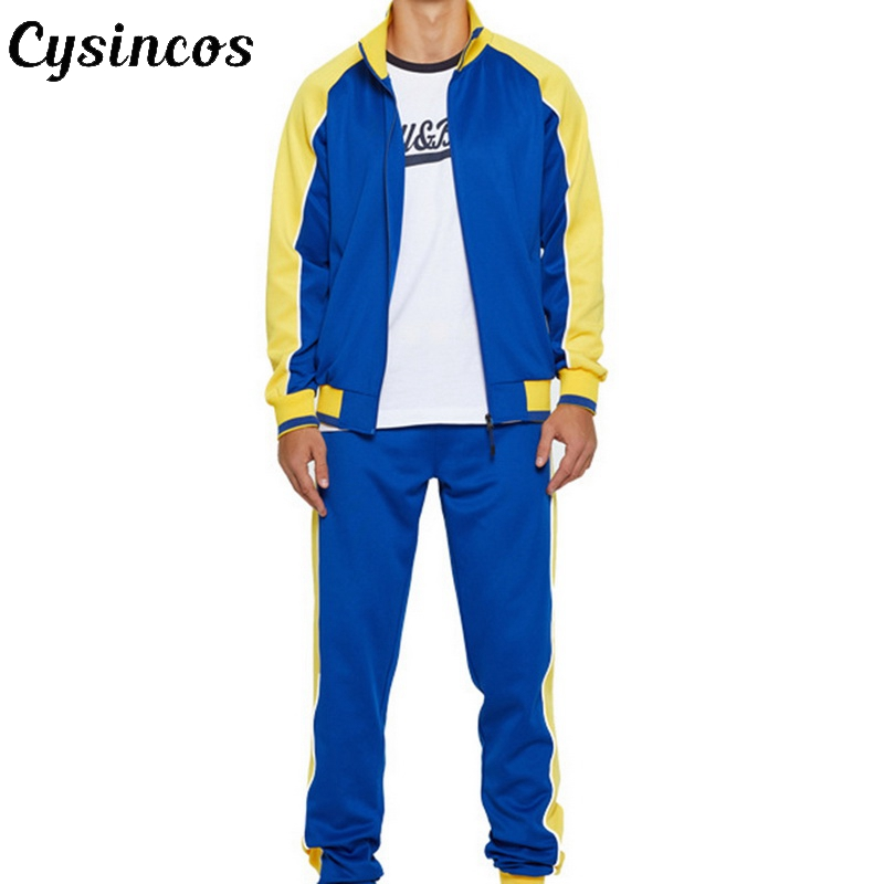 CYSINCOS 2020 New Men Sets Fashion Sporting Suit Brand Patchwork Zipper Sweatshirt +Sweatpants Clothing 2 Pieces Slim Tracksuit