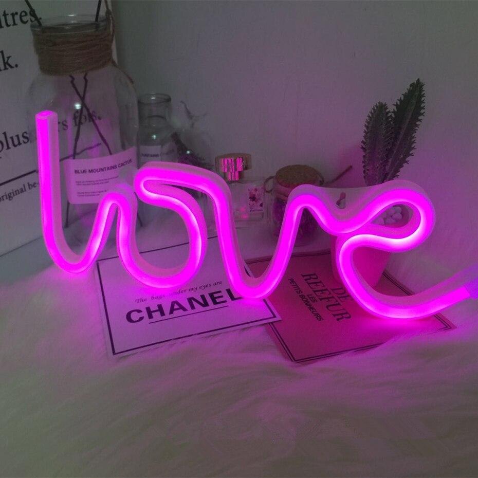 LOVE LED Neon Light Sign Creative Wedding Decoration Neon Lamp Valentines Day Anniversary Bachelorette Party Bedroom Decor Bodas