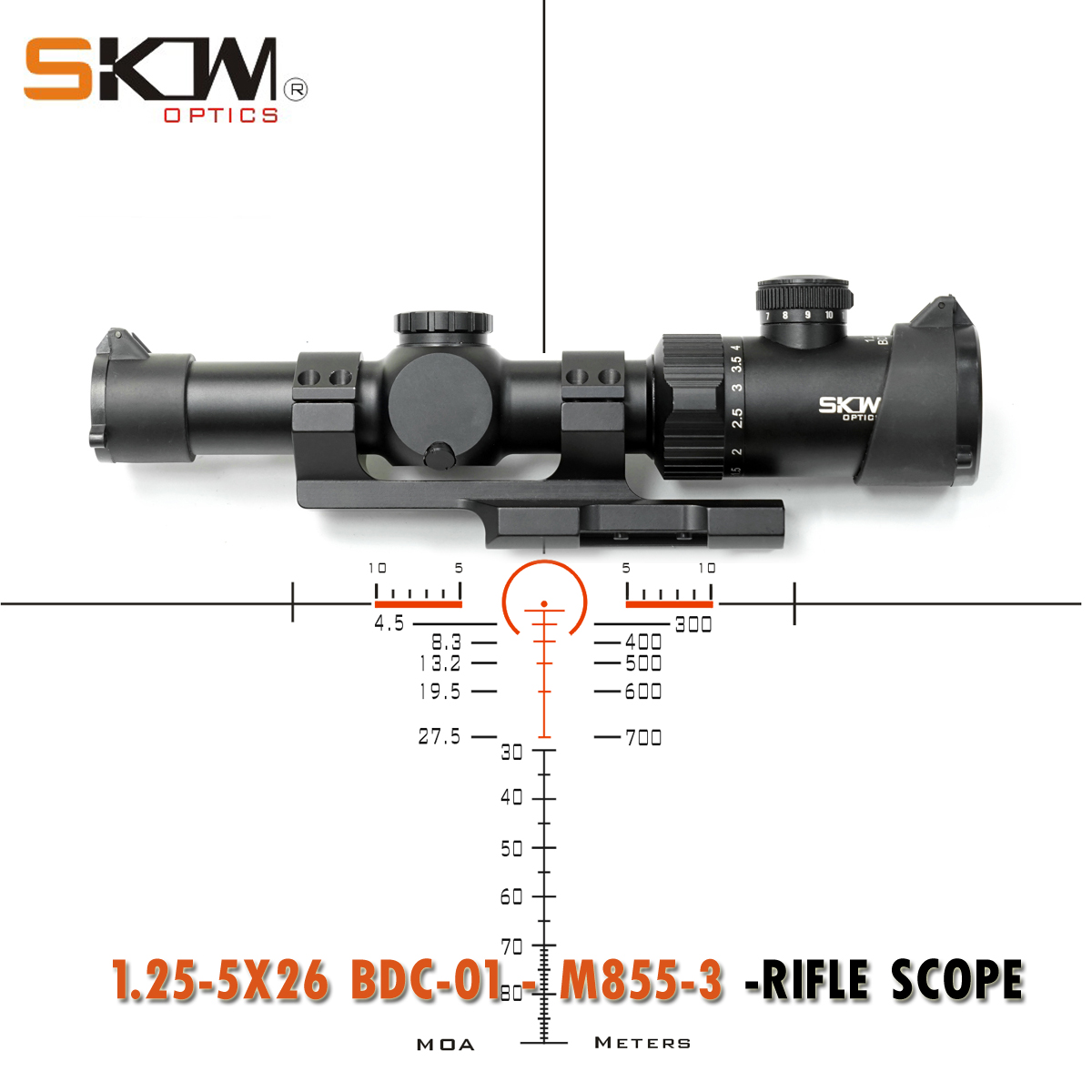 SKWoptics1.25-5x26bdc-01-M855-3 Tactical Riflescopes Hunting AR,M4  Sight Compact Rifle Scope Ar15 BDC Reticle 30 Scope Rings