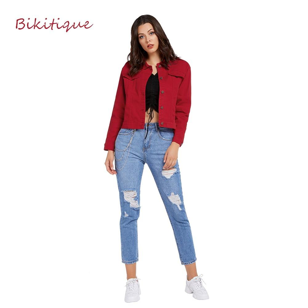 Bikitique Jeans Jacket In Apparel For Women Spring Short Denim Jacket Women Red Casual Chaqueta Mujer Casaco Jaqueta Feminina