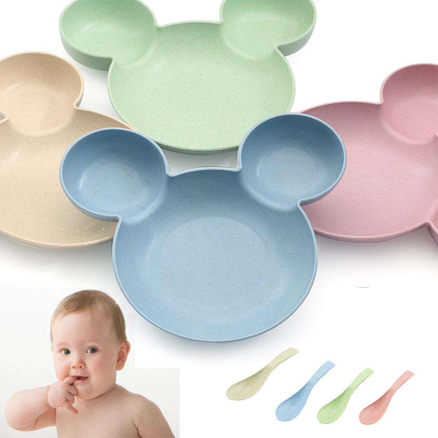 Baby Tableware Cartoon Kids Divided Bowl Food Grade Eco Wheat Straw Children Plate Baby Feeding Dinnerware Eating Food Dishes