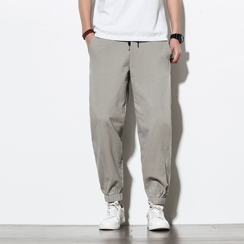 Streetwear Chinese Style Men Harem Pants Mens Summer Solid Cotton High Quality Trousers Male Loose Full-Length Pants