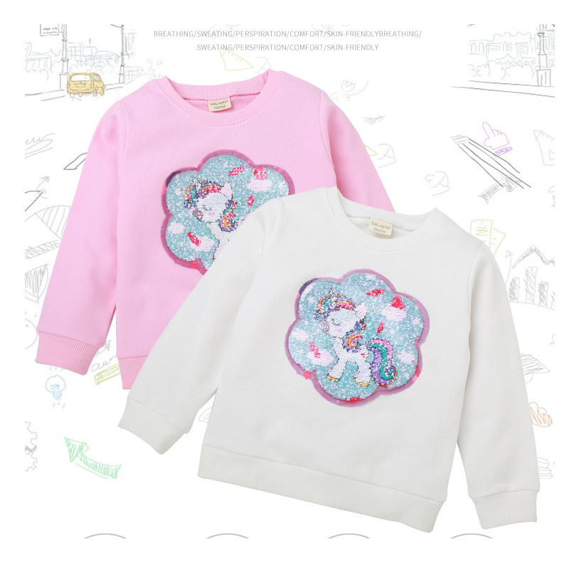kids wear boy girl clothes long-sleeved T-shirt bottoming shirt color change sequin decal sweatshirt2019 Quality clothing cotton image