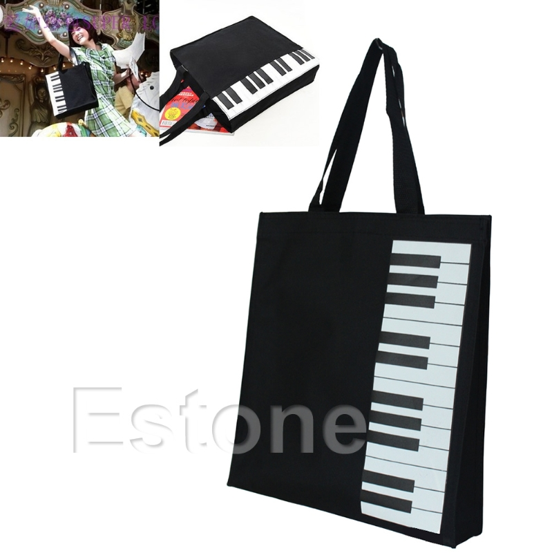 Hot Fashion Black Piano Keys Music Handbag Tote Bag Shopping Bag Handbag