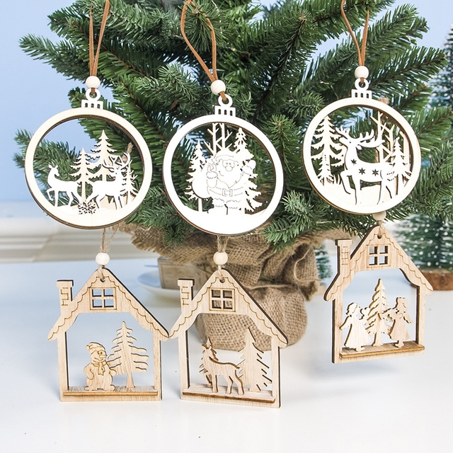 1PC 2D 3D Christmas Ornament Wooden Hanging Pendants Star Xmas Tree Bell Christmas Decorations For Home Party New Year Navidad 4
