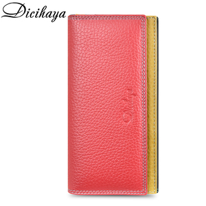 Image 3 - DICIHAYA Contrast Color Genuine Leather Women Wallet Purse Female Luxury Leather Long Womens Handbag Genuine Leather Pouch