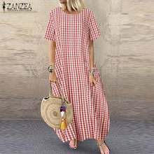 Robe Maxi-Dress Tunic Short-Sleeve Vestidos Elegant Zanzea Fashion Plus-Size Women's Summer