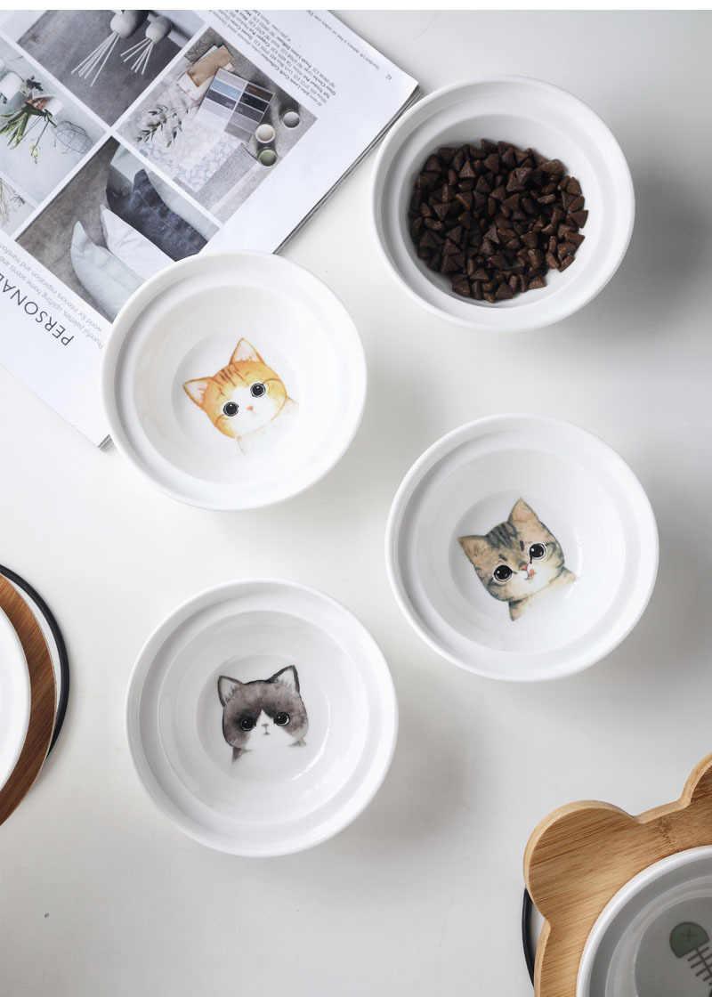 Cuenco de alta gama para mascotas, cuencos de cerámica de acero inoxidable con diferentes diseños de dibujos animados, cuencos de comida y bebida para perros y gatos