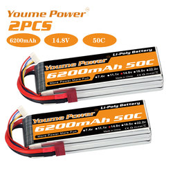 2PCS Youme 4s Lipo Battery 14.8v 6200mah 50C with T plug for RC Car truck Airplane Drone helicopter 550 600 RC Boat