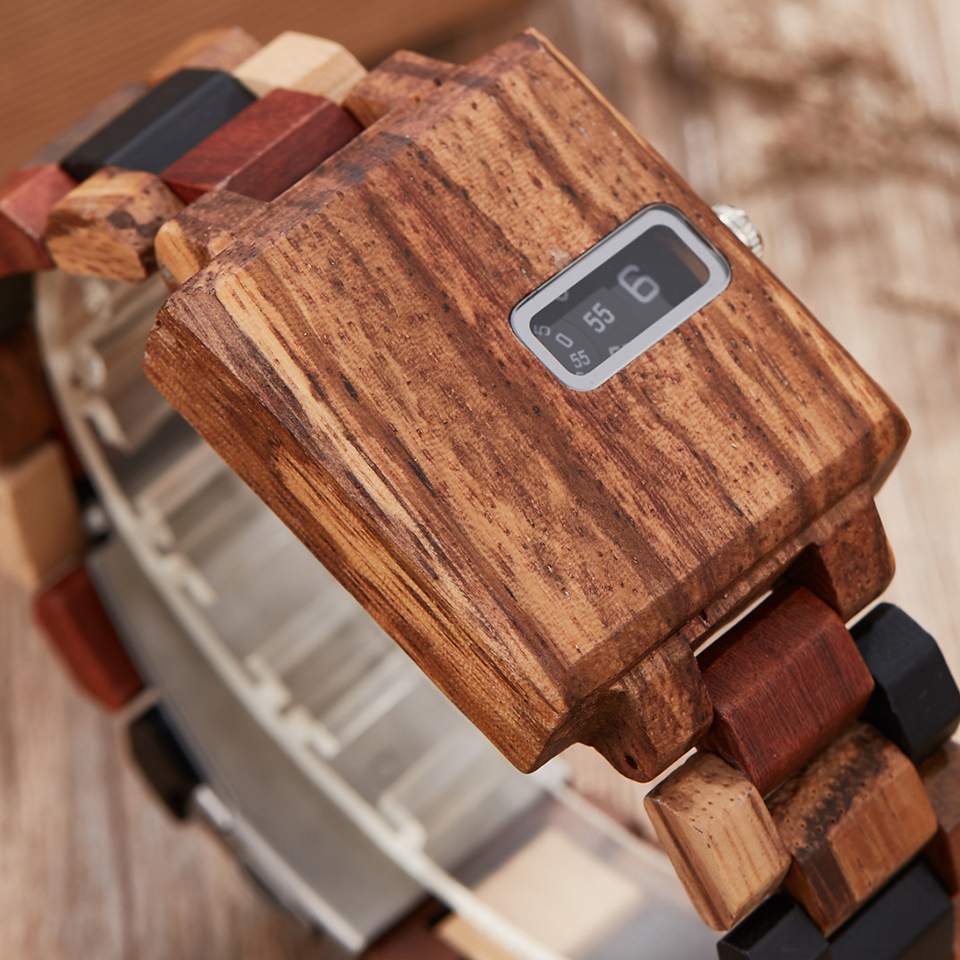 Reloj de madera maciza exclusivo relojes de madera cuadrados para hombres Reloj Digital creativo Reloj masculino Reloj de madera