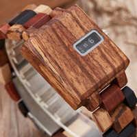 Unique Solid Wood Watch Men Square Wooden Watches Creative Turntable Digital Dial Male Clock Relogio Masculine Reloj de madera