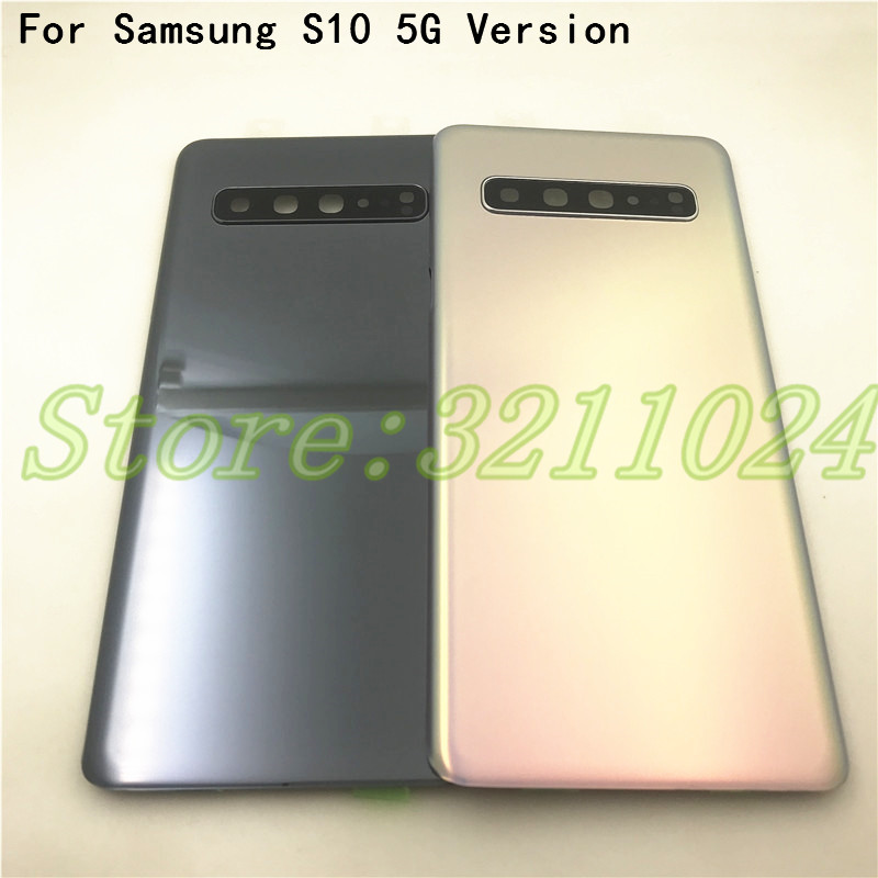 Original Glass For Samsung Galaxy S10 5G Version G977 G977F G977B Back Glass Battery Cover Rear Door Housing With Camera Lens