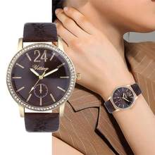 Leather Top Fashion Ladies Quartz Watch Wild Women Fashion Gifts Dress relogio feminino Diamond Ladies Luxucy Round Clocks B40(China)