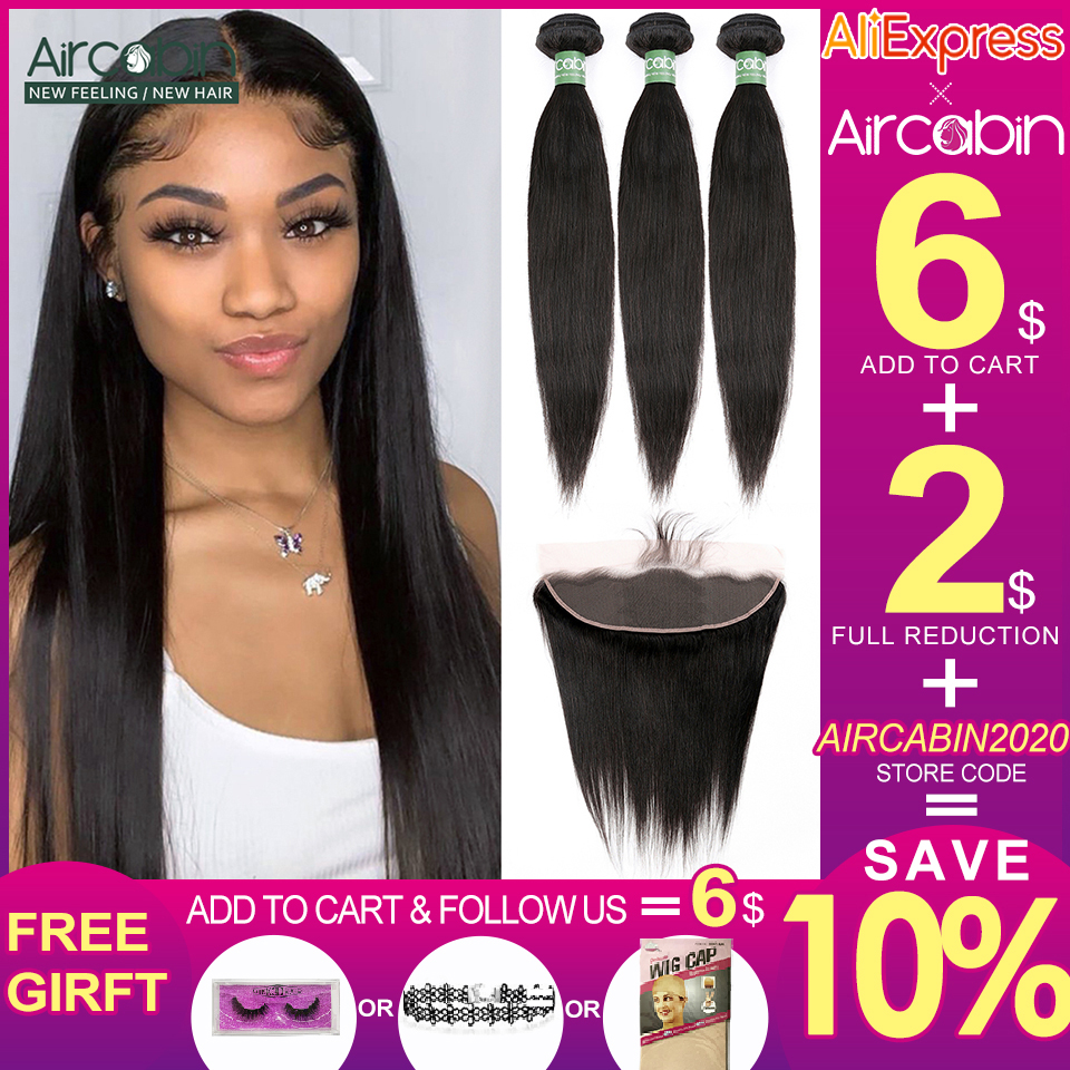 Aircabin Peruvian Straight Hair Bundles With Frontal Remy Human Hair 3 Bundles With Ear To Ear Lace Frontal Closure Extensions