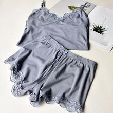 Комплект пижамный женский однотонный с v образным вырезом модный