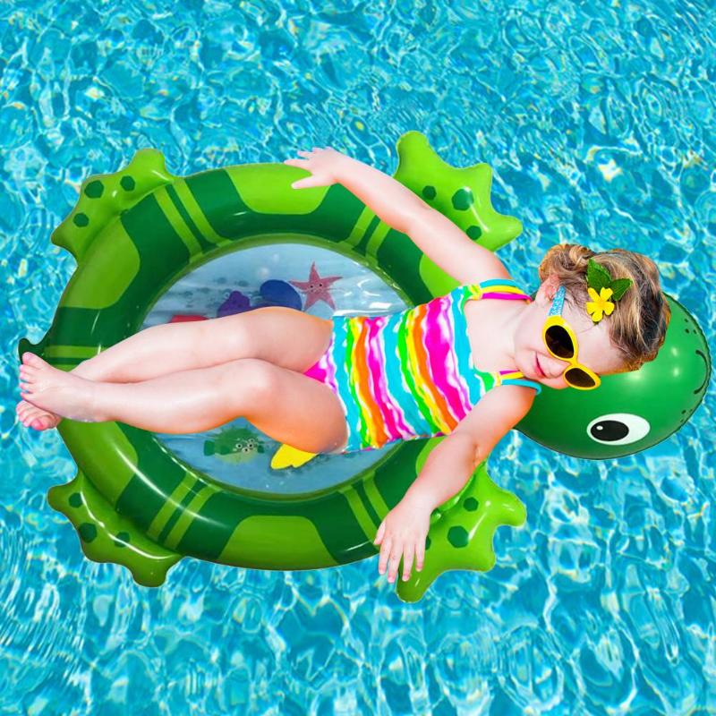 2019 New Swim Ring Cartoon Water Sports Inflatable Turtle PVC Kids Toys Pad Fun Safety Cushion Swimming Pool Accessories