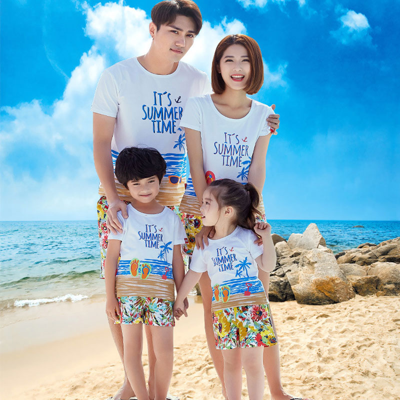 family matching clothes Swimwear summer Swimsuit for Mommy Dad Daughter son Look Baby Girl Clothes Beach Top shorts 2 pc suit