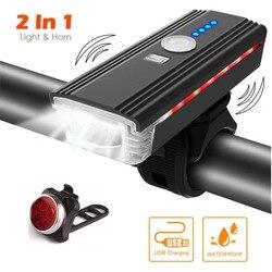 Inteligentny indukcyjny rowerów przednie światła zestaw LED ładowane na USB tylne światło i reflektor z klaksonem latarka do rowerów