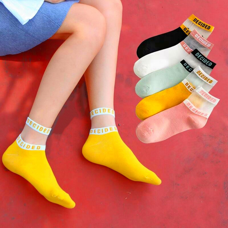 5 Pairs Summer Transparent Letter Patterned Socks Women Hollow Out Cotton Short Socks Thin Casual Ankle Socks Female Comfort Sox
