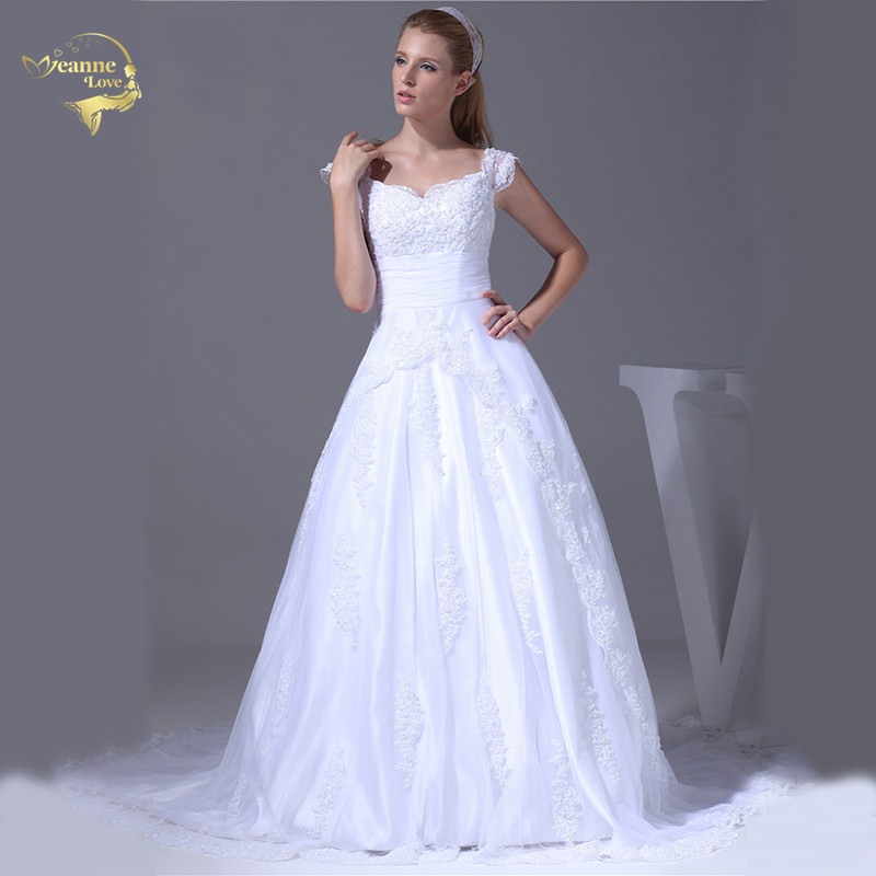 Jeanne Love 2017 New Arrival Wedding Dresses Robe De Mariage Tulle With Lace Bridal Gowns A Line Vestido Novia JLOV75897