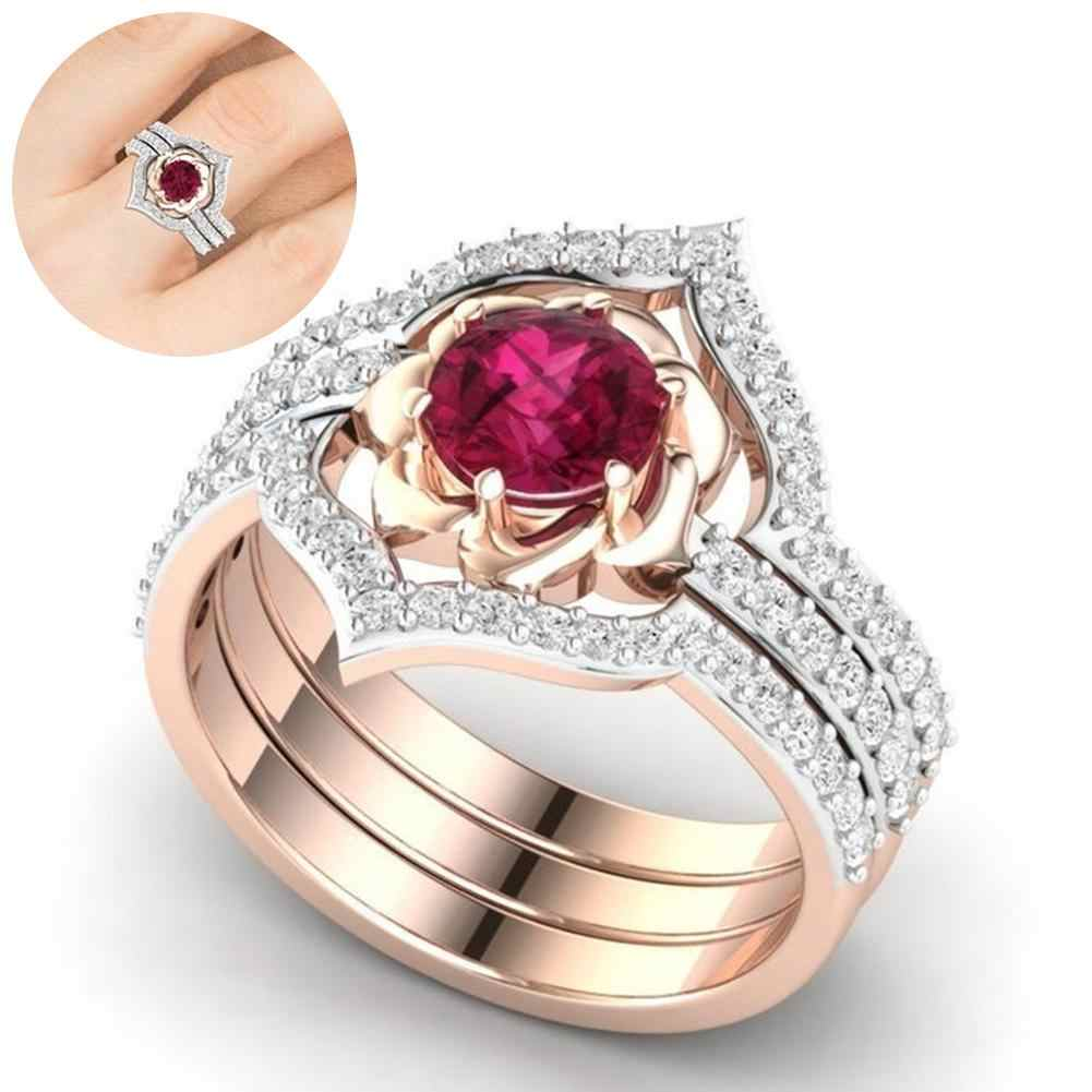 3Pcs Elegent Women Faux Ruby Rhinestone Inlaid Finger Ring Band Jewelry Gift Suitable for wedding club or just daily wear