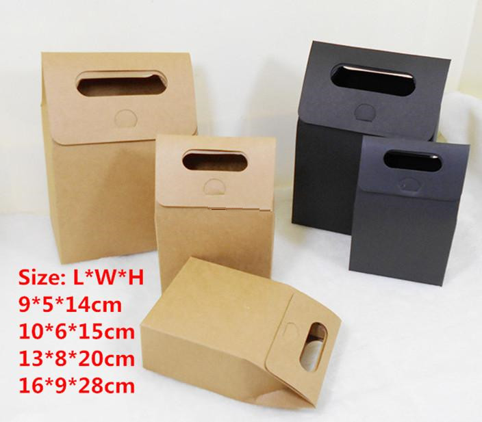 20pcs/lot-4size Blank Black Paper Kraft Craft Gift Bags With Handle Soap Candy Bakery Cookie Biscuits Packaging Boxes
