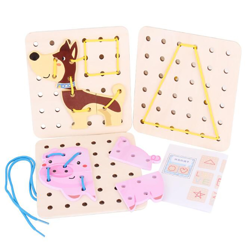 Cartoon Animal Baby Kids Threading Board Toy DIY Handmade Crafts Threading Board Child Kids Wooden Toy Animal Lacing String Toys