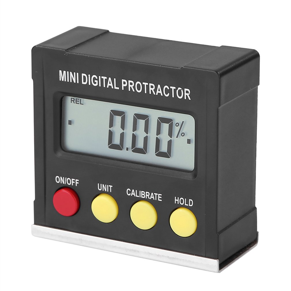 360 Degree Black Mini Digital Protractor Inclinometer Electronic Level Box Magnetic Base Measuring Tools
