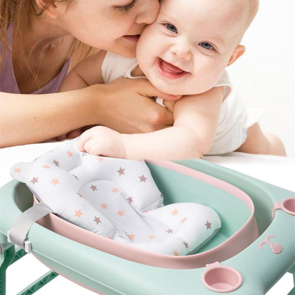 Kidlove Baby Bath Seat Infant Shower Mat Foldable Tub Pad Newborn Bathtub Pillow Anti-Slip Soft Comfort Cushion