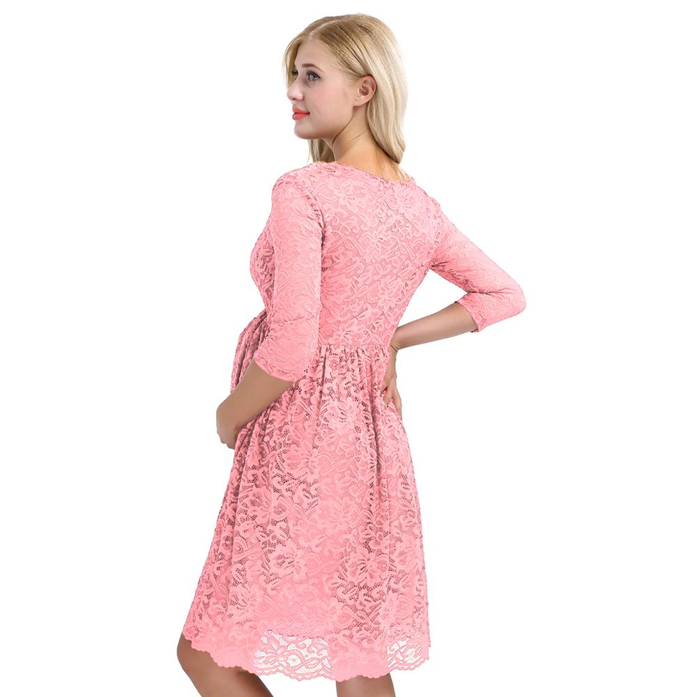 Image 3 - Womens Femme Maternity Elegant Dress Floral Lace Overlay V Neck Half Sleeve Pregnant Photography Dress for Take Part WeedingDresses   -