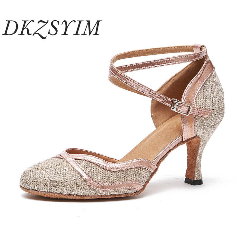Женские туфли для современных танцев DKZSYIM, туфли с закрытым острым носком для бальных танцев и латиноамериканских танцев, свадебные туфли с ...