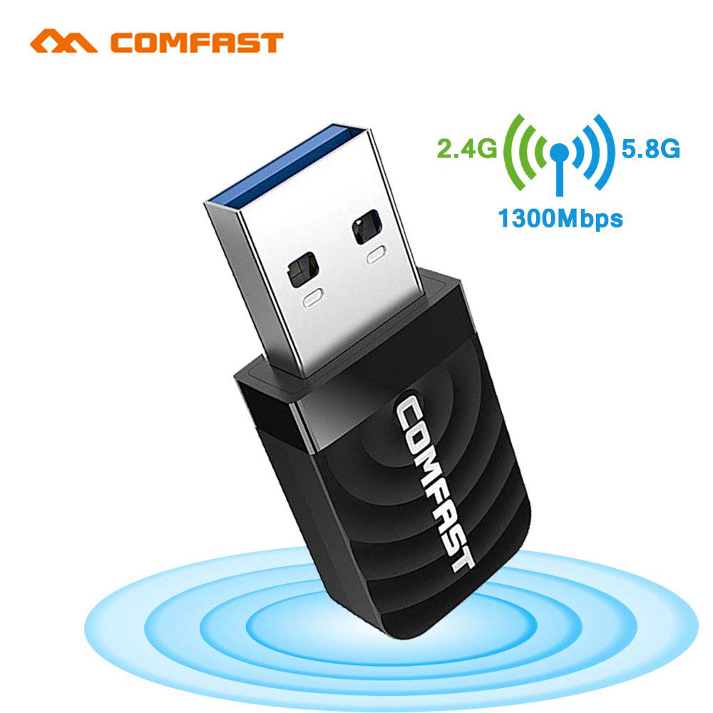 Comfast CF-812AC WiFi Adapter USB3.0 Gigabit  AC1300Mbps Dual-Band 2.4G/5.8G Wireless Wi-fi Dongle Network Card Receiver Antenna