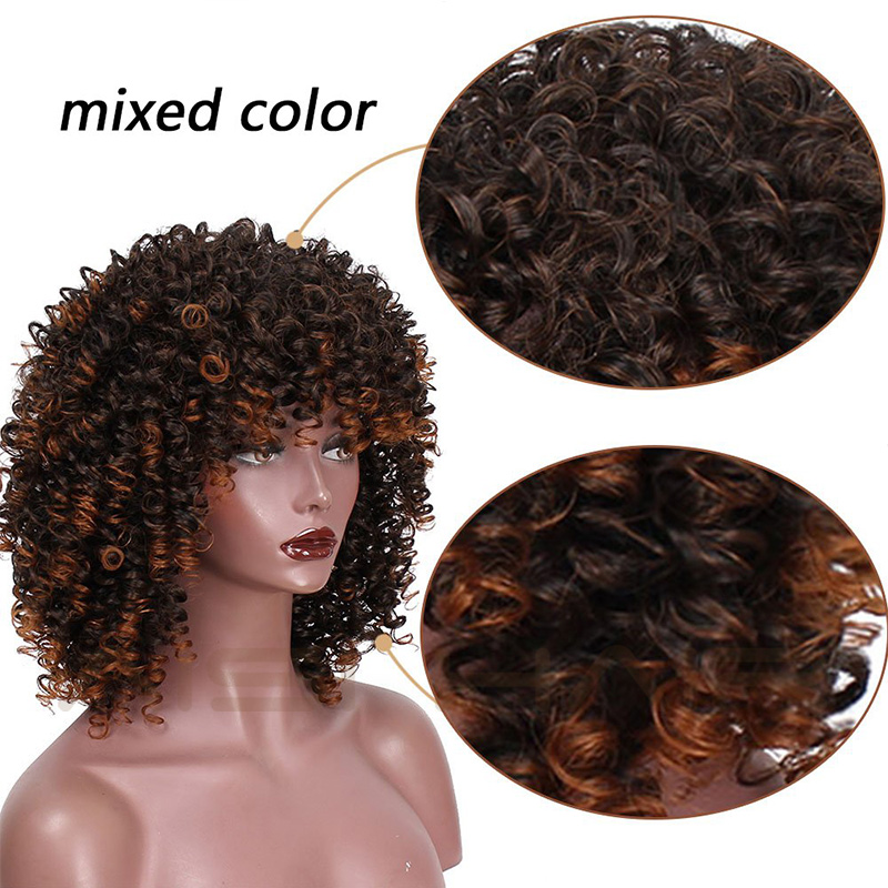 AISI HAIR Short Afro Kinky Curly Wig Natural Black Synthetic Wigs for Women Black Mixed Brown Wig Heat Resistant Fiber