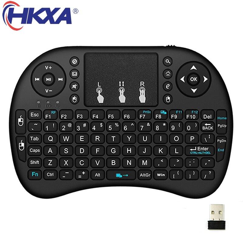HKXA i8 русская английская версия 2,4 ГГц Беспроводная клавиатура Air Mouse с тачпадом ручная работа с Android TV BOX Mini PC 18
