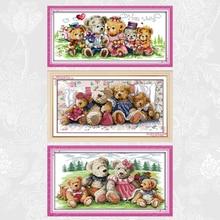 Bear family Cross Stitch Cartoon Patterns 14CT 11CT DIY Handwork Embroidery kits Needlework sets Wholesale Home Decoration