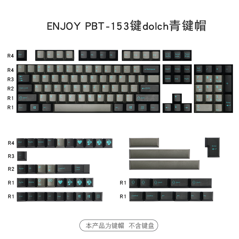 153 Keys/set Enjoypbt Dolch Green Sky Double Shot Keycap ABS Material Mechanical Keyboard Key Caps For MX Switch Cherry Profile