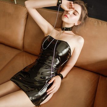 Black Leather Latex Dress Sexy Mini Dress Clubwear Backless Lingerie Exotic Dancewear Pvc Wet Look Dress Women Erotic Cosplay