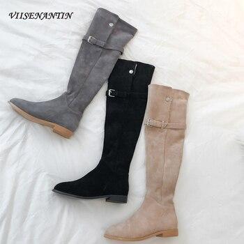 Coreano invierno puntiagudos hebilla de cinturón sobre la rodilla botas de Caballero de piel de oveja gamuza de dos desgaste de fondo plano de felpa zapatos de mujer