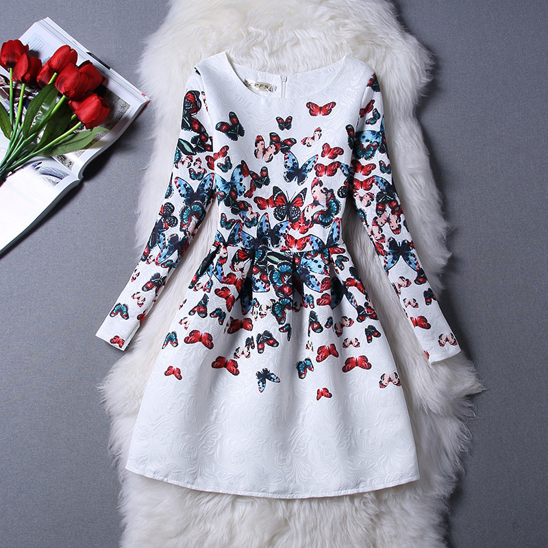 BacklakeGirls Elegant Vintage Flowers Butterfly Printing Short Party Prom Dresses Long Sleeve Dress In Stock Vestidos De Gala