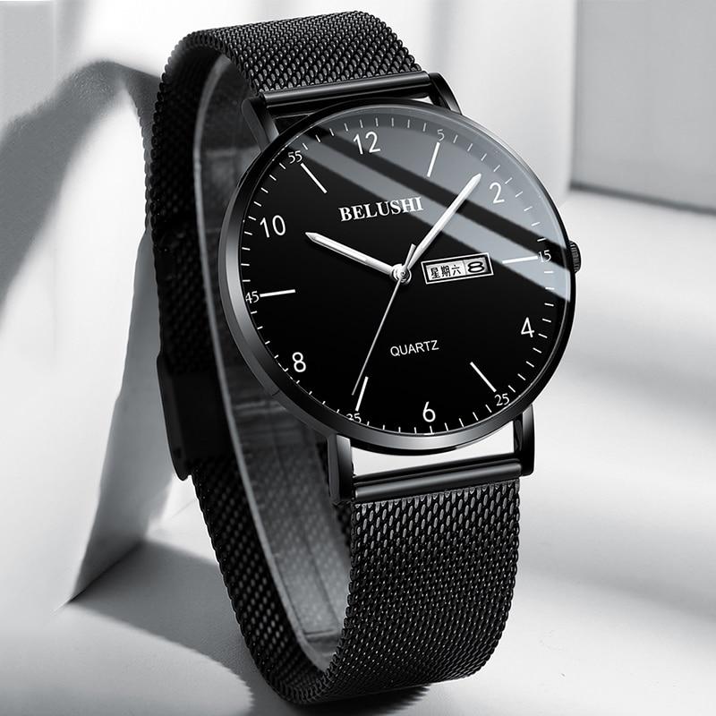 BELUSHI Mens Watches Ultra Slim Clock Top Brand Luxury Watch Men Fashion Casual Business Waterproof Wrist Watch For Male Dial 40