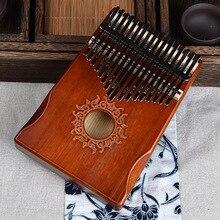 17 клавиш черный стильный Kalimba большого пальца фортепиано красного дерева тела музыкальный инструмент