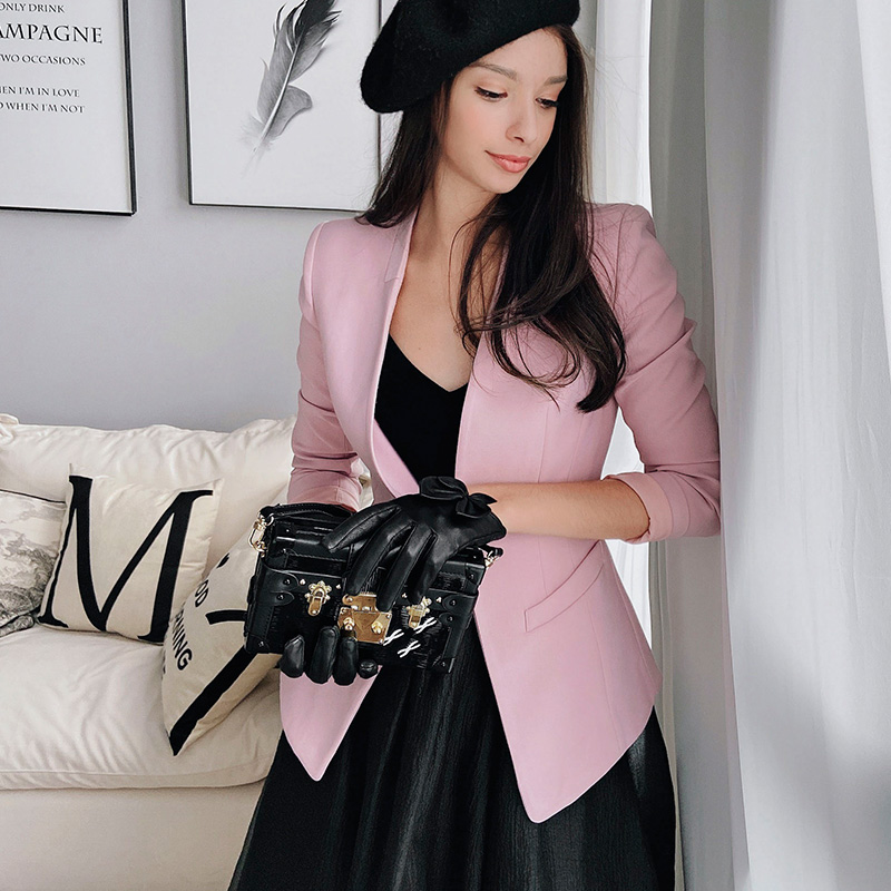 Dabuwawa Single Pearl Button Beaded Blazer Women Slim Fit Long Sleeve Elegant Blazers Jackets Coats Office Lady DN1AJK007