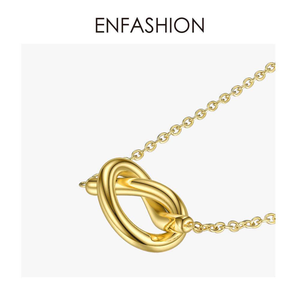 ENFASHION śliczne Hollow Knot naszyjnik kobiety złoty kolor stal nierdzewna serce Choker naszyjnik moda biżuteria Femme P193057