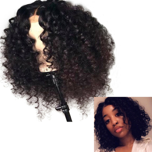 Image 2 - LUFFYHAIR Pre Plucked Brazilian Remy Hair Curly Lace Front Wig 13x6 Deep Parting Short Bob Lace Front Human Hair Wigs for Women